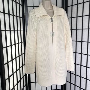 Chico's Wool White Knitted Long Cardigan Sweater